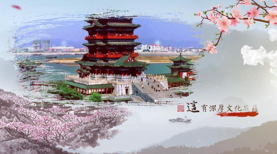 AE模板大气优雅中国风水墨山水文化 旅游景点城市宣传片开场视频片头7.20