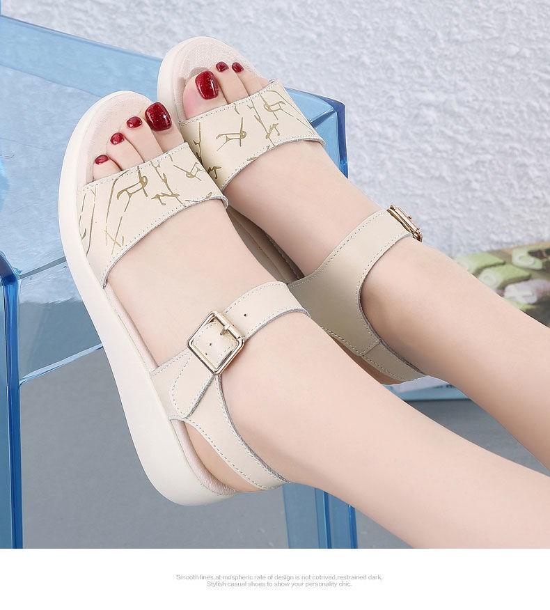 中國代購|中國批發-ibuy99|2021夏季新款平底女士防滑休闲凉鞋女软底学生扣带百搭软皮女鞋子