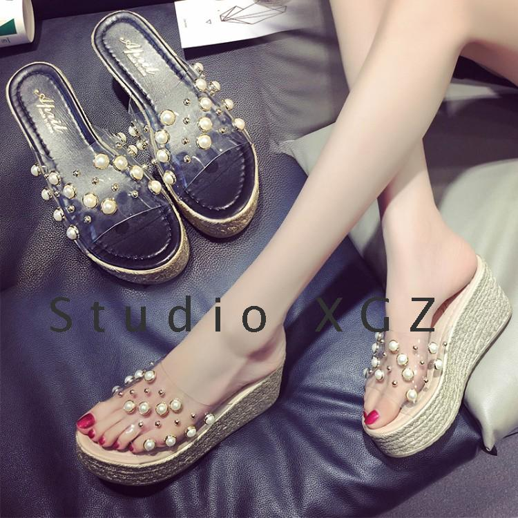 2ae6037383d70 new summer transparent muffin bottom sandals female fashion summer slope  with thick bottom drag word pearl
