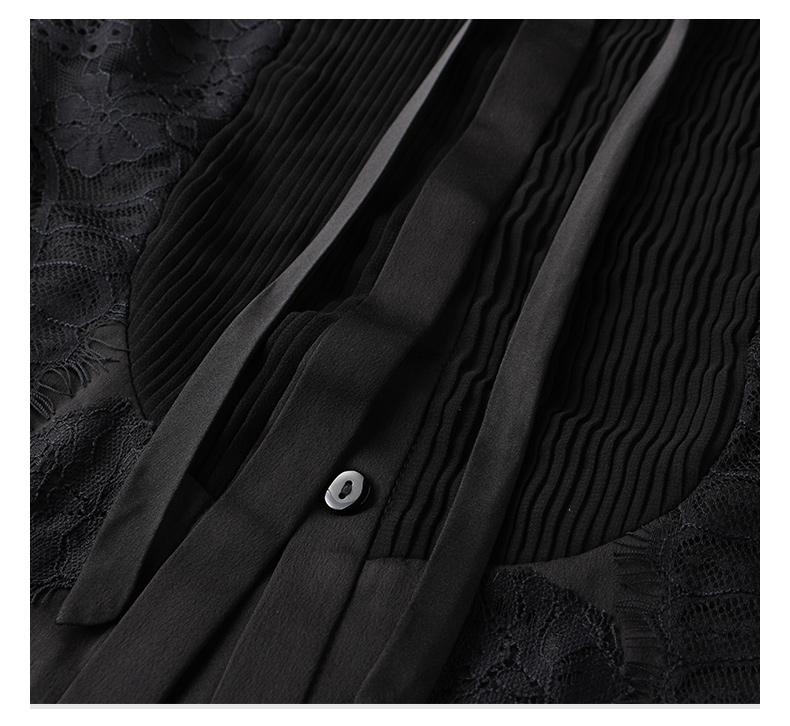 春秋装新款衬衣欧美时尚女装黑色欧根纱衬衫女设计感小众上衣详细照片