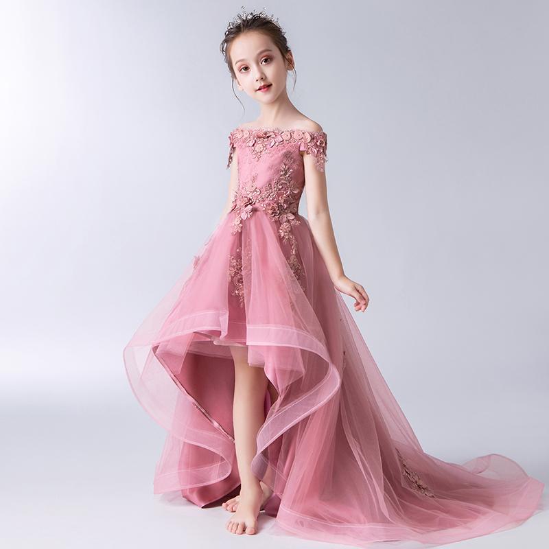 Trẻ em váy công chúa váy cô gái phồng sợi hoa cô gái trang phục piano ít chủ nhà sàn catwalk buổi tối đuôi - Váy trẻ em