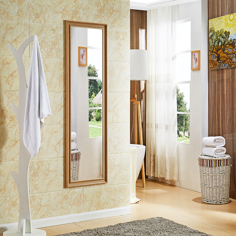 Huashen Wood Grain Chinese Simple Dressing Mirror Full Length Floor Wall Mounted Clothing Large
