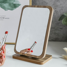 Wooden folding desktop makeup mirror children can stand on one side vanity mirror the desktop mirror tuba student dormitories small portable