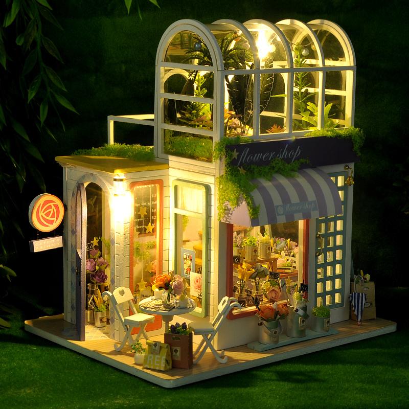 diy小屋阁楼童话花房手工制作拼装小房子建筑模型玩具生日礼物女