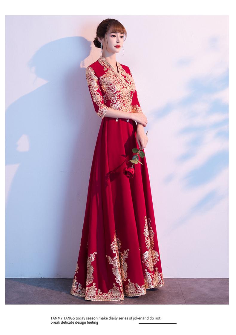 中式敬酒服新娘新款酒红色结婚礼服女订婚衣服气质中国风长版详细照片