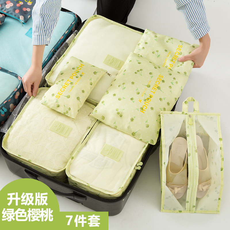 Green Cherry (7 Piece Set) Buy 3 Travel Transparent Waterproof Storage