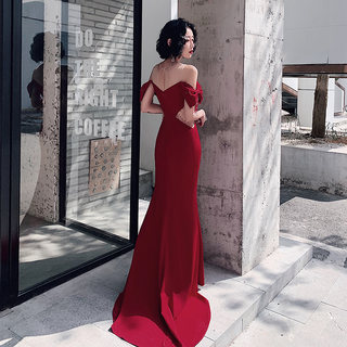 Fishtail dress toast the bride married 2020 new summer wine red noble sexy evening dress banquet skirt temperament