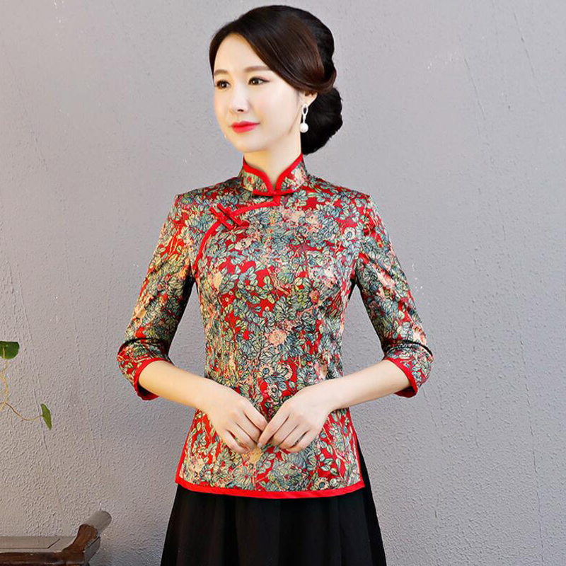 a22a6546b98 Cheongsam shirt 2018 Autumn seven-sleeve Tang suit clothes retro slim  improved Republic wind plate