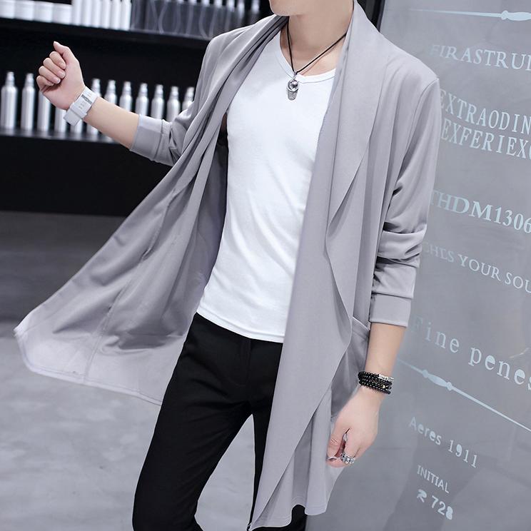 夏季风衣男中长款防晒男士薄款大衣春秋帅气披风韩版学生外套潮流