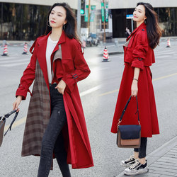 Spring and autumn windbreaker women's mid-length chic retro British style red plaid stitching loose over-the-knee coat autumn coat
