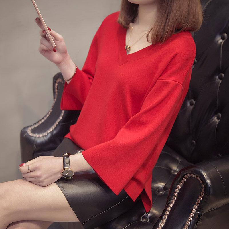 V воротник свитера женщина 2018 весна новый семь штук свободный краткое модель красная куртка тонкий вязание свитер волна