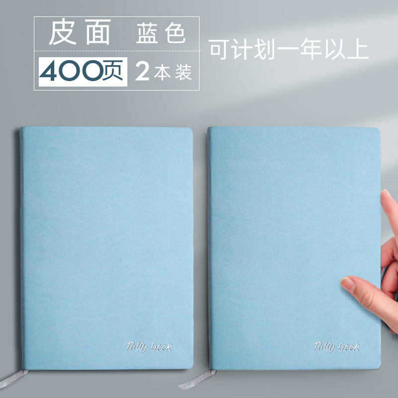 Leather Surface / 2 Books In Blue / 400 Days (can Be Planned For More Than One Year)