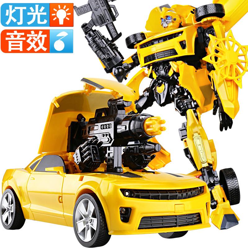 ✅手办变形玩具金刚5声光加大大黄蜂汽车恐龙机器人模型男孩正版4