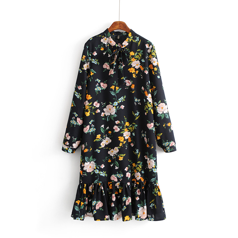 Foreign trade women's clothing 2018 spring new European and American style Hong Kong taste retro floral print thin long-sleeved dress female