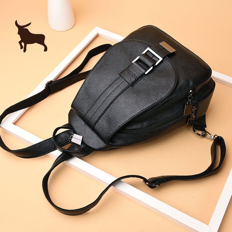 Two-Shoulder bag women 2018 new dual-use street trend Korean version of the Tide soft leather personality Backpack hundred multi-purpose chest bag