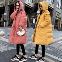 Беременная женщина хлопок Зимняя одежда хлопок куртка женщин корейская версия рыхлый зимний куртка фасон средней длины стиль пуховик хлопок Поздняя беременность осень-зима