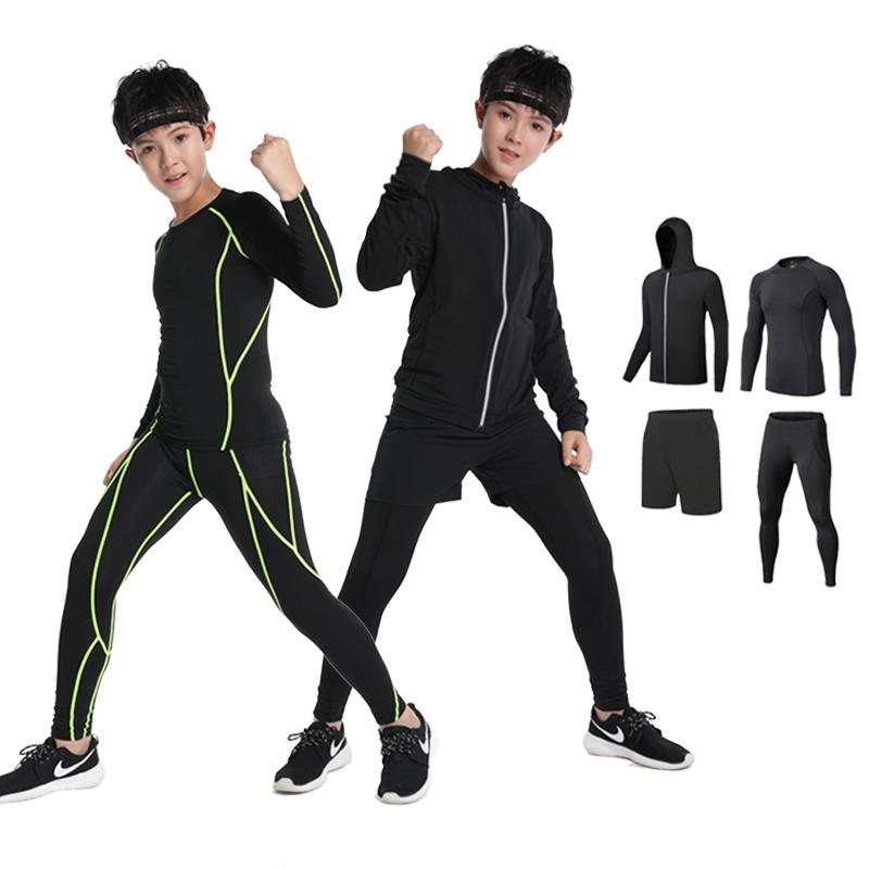 兒童緊身衣訓練服男童速干衣跑步健身服秋冬打底籃球足球運動套裝