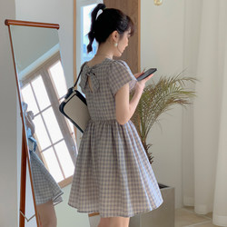 Plaid dress female summer small fresh 2021 new student small child povers fairy skirt high waist skirt