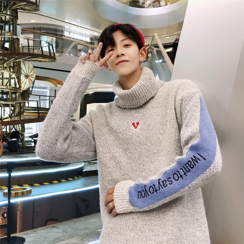 Mùa thu Hồng Kông phong cách thêu màu phù hợp với áo len nam cộng với áo len lỏng XL chất lỏng Áo len nam cao cổ Nhật Bản - Hàng dệt kim