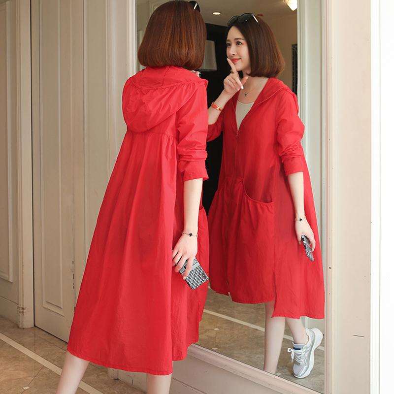 防晒衣女2021新款韩版中长款夏季开衫过膝时尚大码宽松防晒服外套