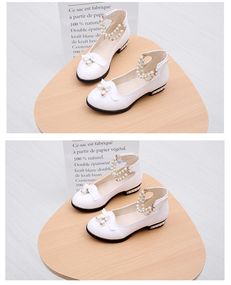女童皮鞋黑白色2017新款韩版中大童高跟公主鞋小学生儿童单鞋春秋20张