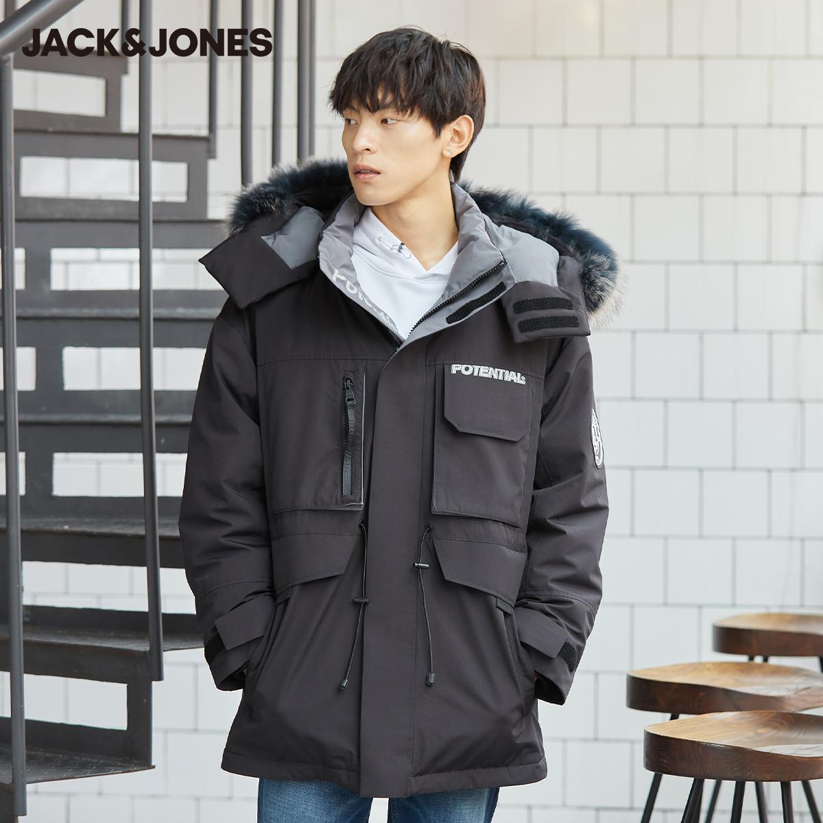【预售】杰克琼斯炙热秋冬潮大毛领工装宽松中长款鸭羽绒服厚外套
