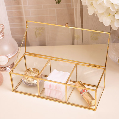 Cosmetic cotton powder puff nail cotton swab desktop glass storage box with cover dustproof Nordic INS cosmetic storage box