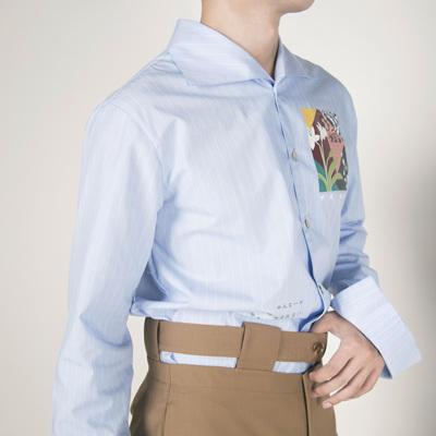 RICCIWEE 原创设计 大翻领条纹印花单排扣长袖复古衬衫男装 四季