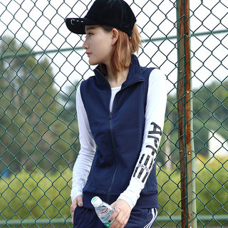 Sports waistcoat women's spring and autumn thin knitting outdoor running fitness large sleeveless short waistcoat women's Vest