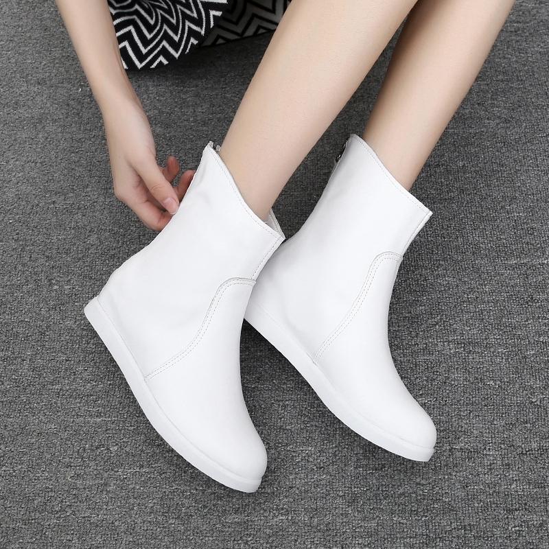 全白色短靴平底内增高马丁靴春秋单靴真皮v白色拉链中筒牛皮女靴子