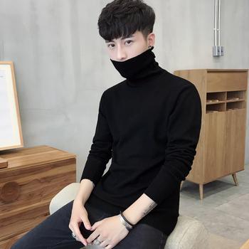Мужской тонкий свитер высокий воротник свитер свитер плюс бархат корейский осенью и зимой линия пальто утолщённый мужчина наряд волна, цена 334 руб