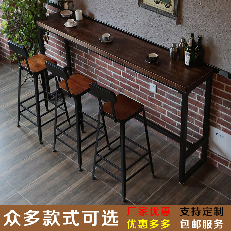 Simple Retro Wrought Iron Wood Bar Table Home Long Table Starbucks Table  And Chairs High Table ...