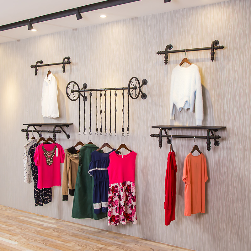 091e48de5 Clothing store display rack wall hanger decoration selling clothes rack  children's clothing women's shop wall-mounted shelves hanging on the wall