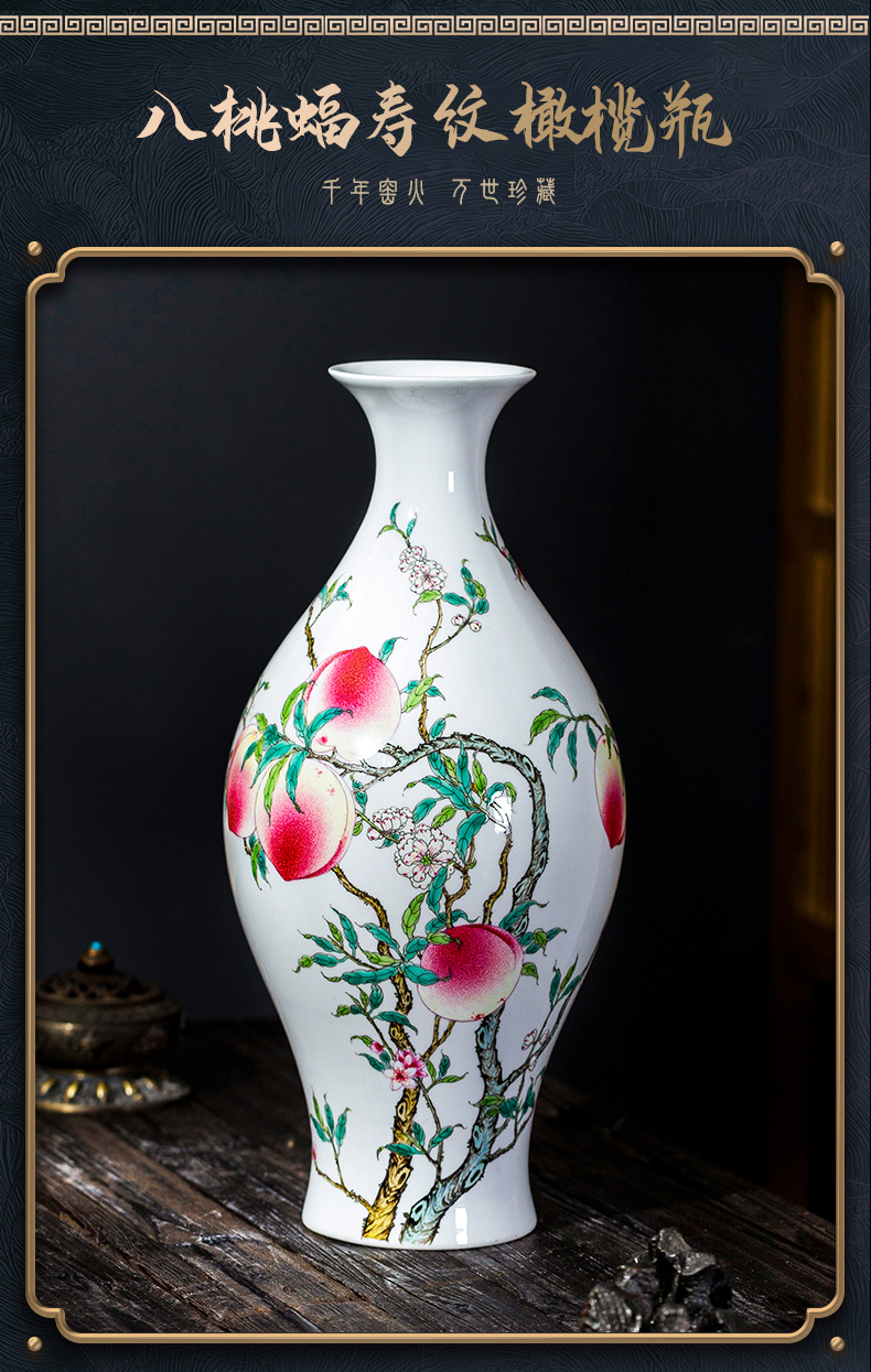Jingdezhen ceramic imitation the qing yongzheng pastel hand - made Chinese antique vase desktop home sitting room adornment is placed