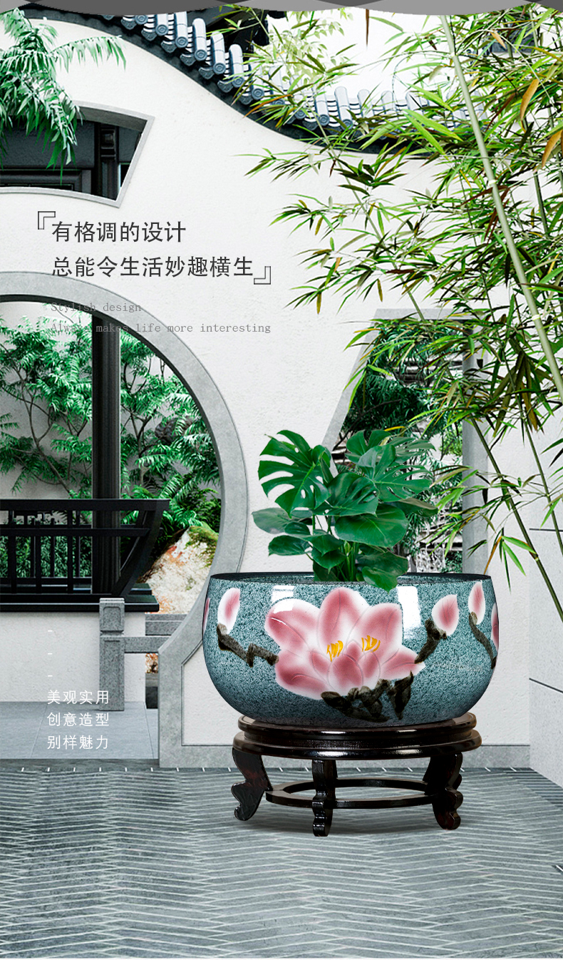 Jingdezhen porcelain lotus rhyme aquarium desktop creative small sitting room office landscape plant furnishing articles for household decoration