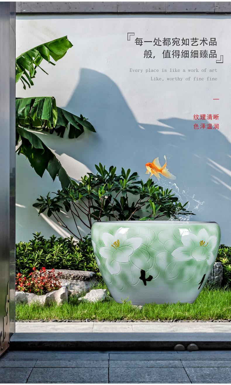 Jingdezhen ceramic hand - made aquarium large home sitting room landscape garden floor furnishing articles is suing green plant adornment