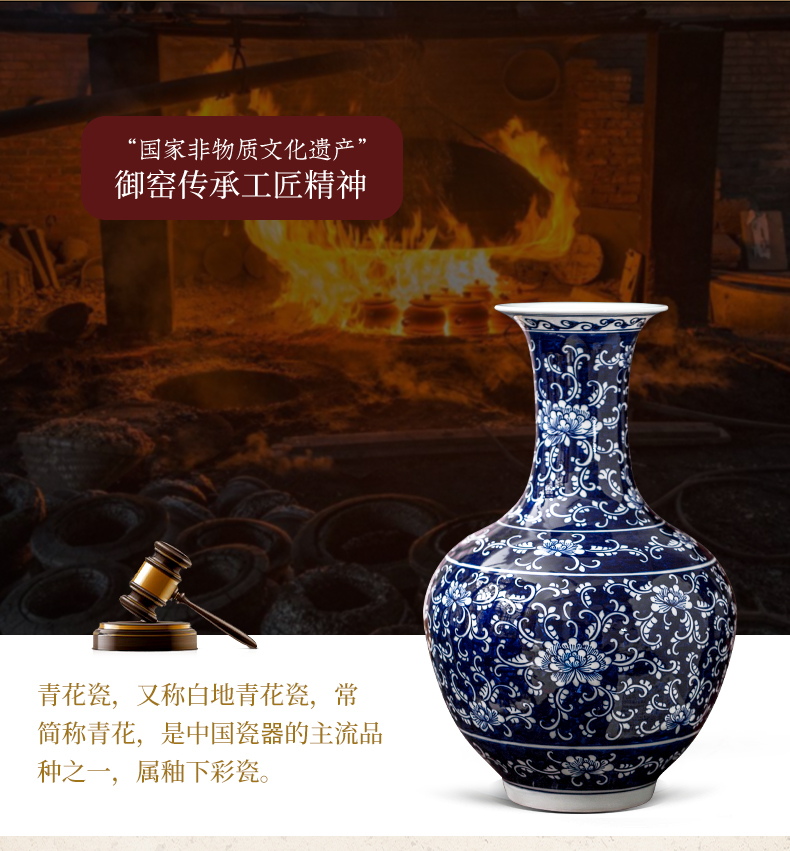 Jingdezhen ceramic hand - made bound branch of blue and white porcelain vase sitting room home rich ancient frame decoration wine furnishing articles at home