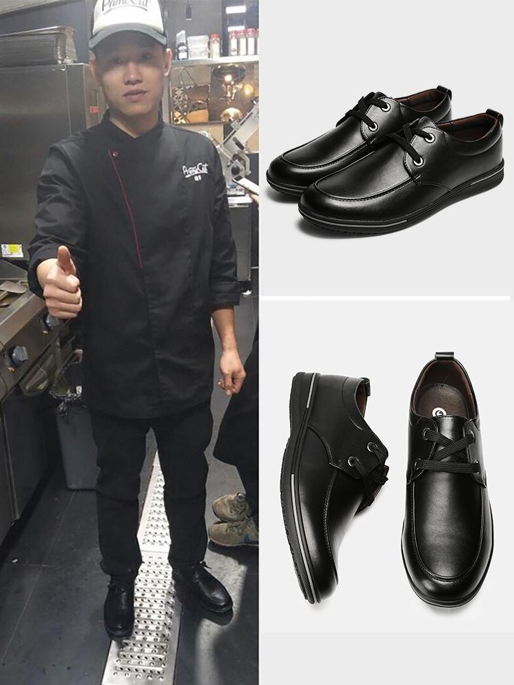 Giày nam Kawn chống trượt không thấm nước, giày bếp bằng chứng bằng dầu, giày da thông thường đặc biệt Giày nam mùa hè