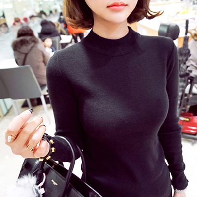 2017 autumn and winter half-high collar long sleeve knit bottoming shirt female black sweater Slim tight head knit sweater women