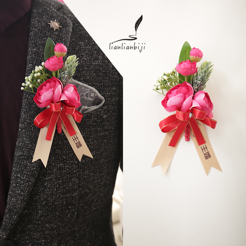 High-end corsage wedding groom bride wedding lapel flowers Best man bridesmaid wrist flowers a set of Korean beautiful ideas