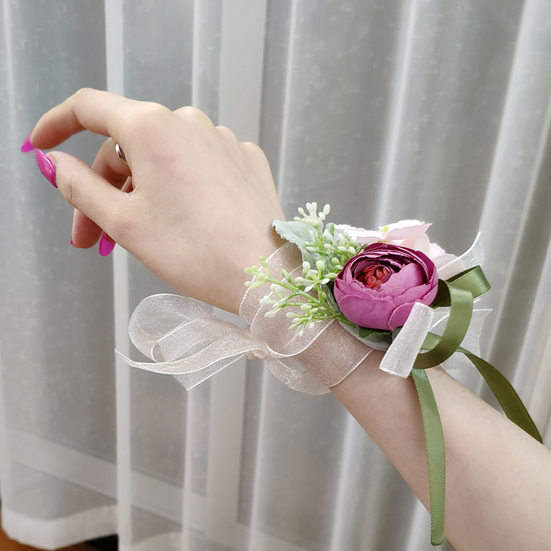 Bride bridesmaid sister group Wrist flower wedding Korean style Sen department small fresh high-end beautiful dance ribbon hand flower gift
