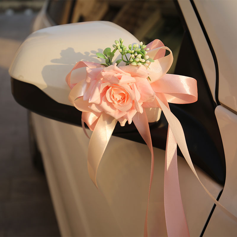 Pink flower car wedding car decoration set Wedding supplies Wedding auxiliary car door rearview mirror fleet full set of decoration