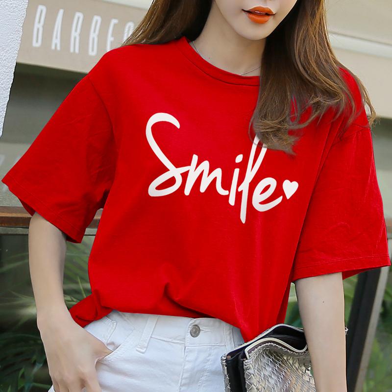 纯棉红色短袖t恤女2020新款半袖大码宽松上衣女夏装韩版ins潮百搭