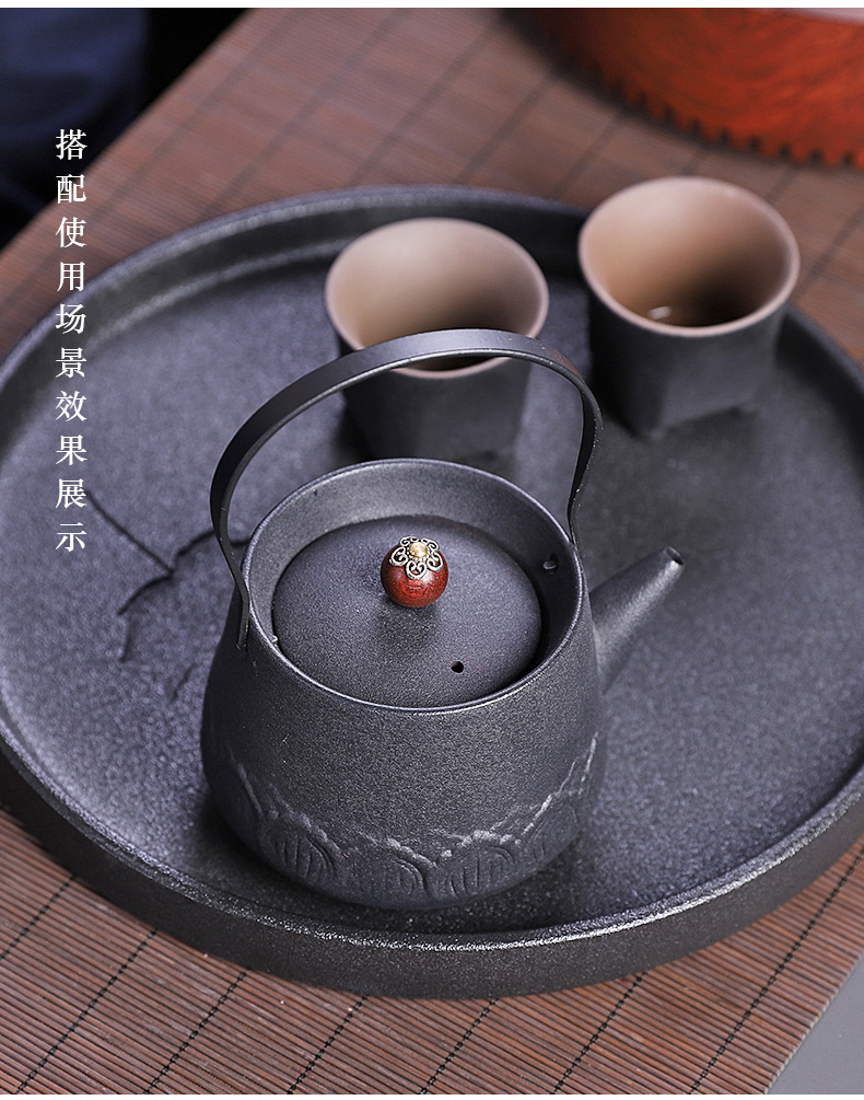 Japanese black pottery small teapot of filter with tea from the household ceramic teapot single girder pot pot of coarse pottery