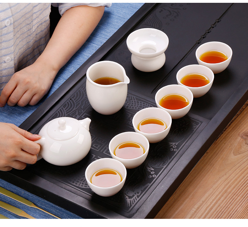 High tea seed suet jade white porcelain kung fu tea set gift boxes dehua white xi shi pot teapot teacup suit a gift