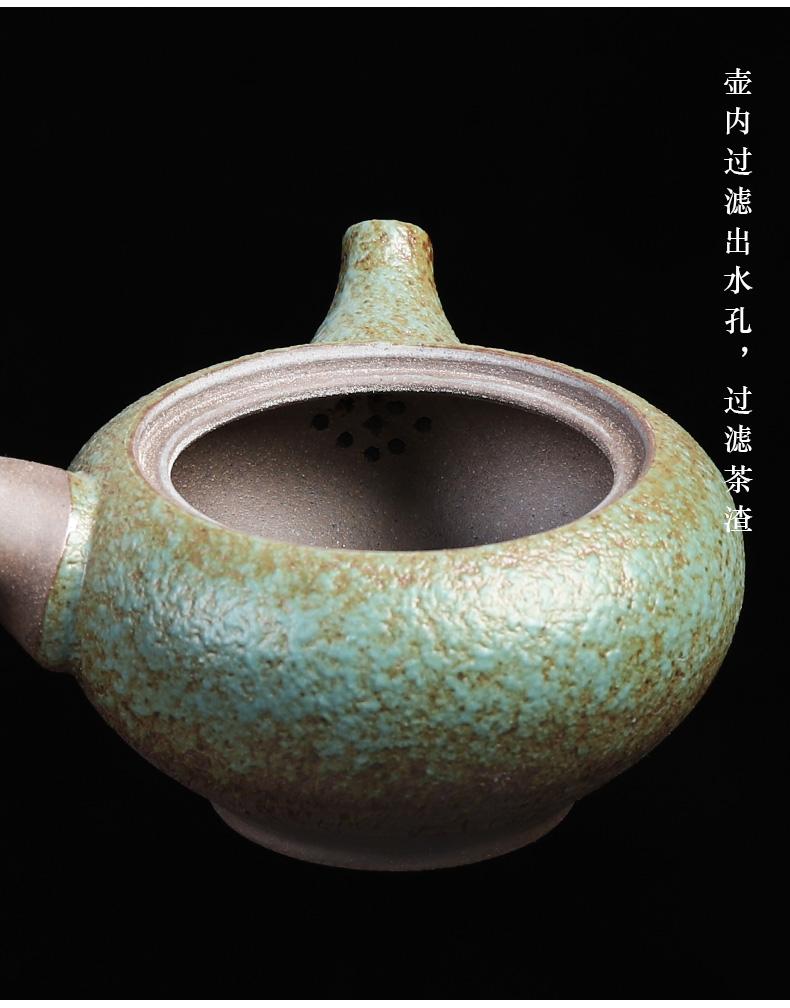 Japanese coarse pottery teapot tea ware kung fu tea pot small home side pot of ceramic filter single pot of restoring ancient ways