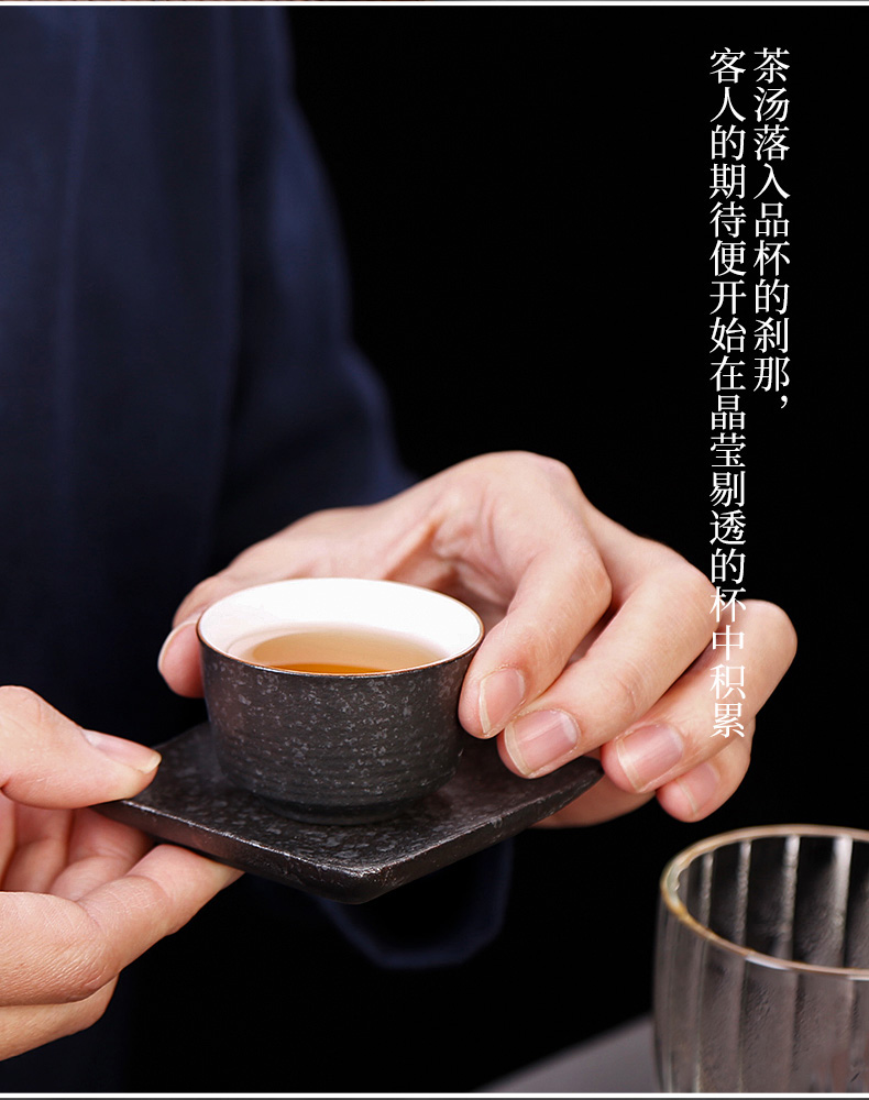 Tea seed Japanese coarse pottery teacup with coasters heat ceramic cups household master cup sample Tea cup single CPU