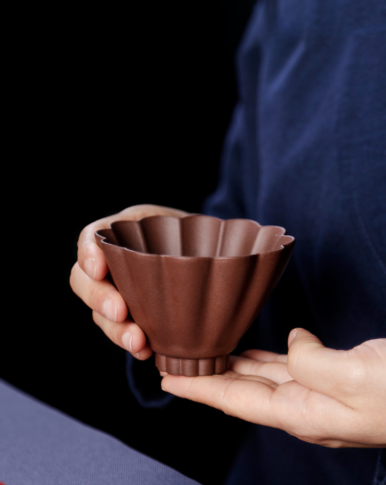 Chinese zen yixing purple sand cup cup run of mine ore checking ceramic cups master cup personal single tea cup