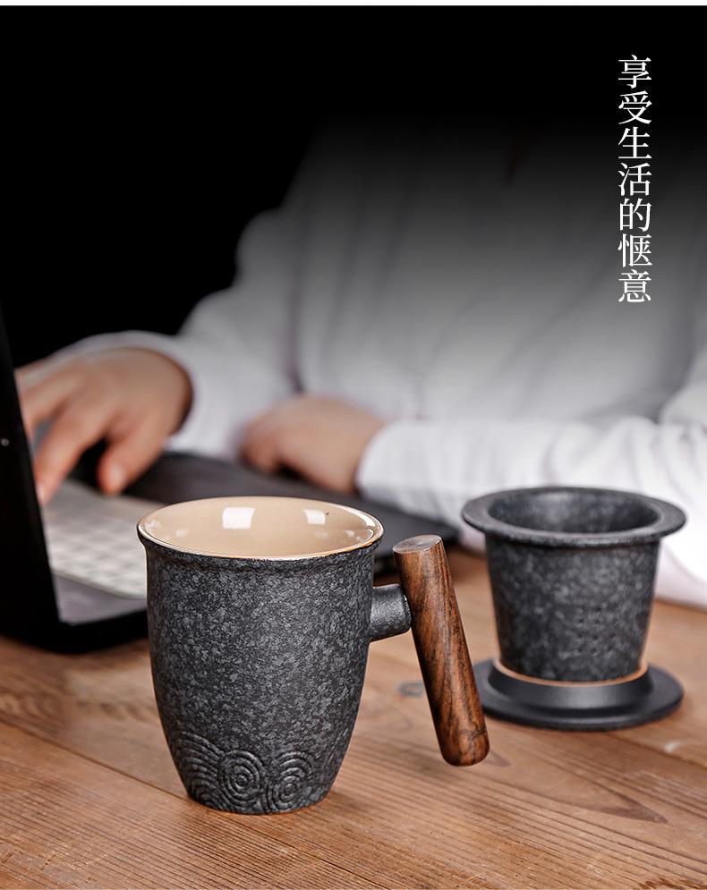 日式粗陶個人水杯復古簡約定制可印logo辦公室泡茶杯子大肚馬克杯