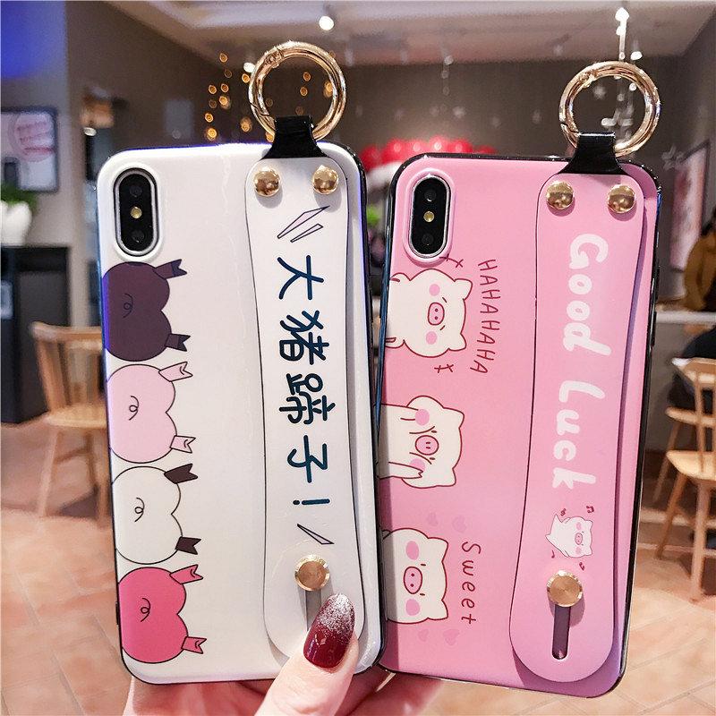 一家不会撞壳的店蓝光磨砂腕带iphonex手机壳8plus支架苹果xs max可爱小猪7p情侣秀恩爱6s网红抖音同款xr